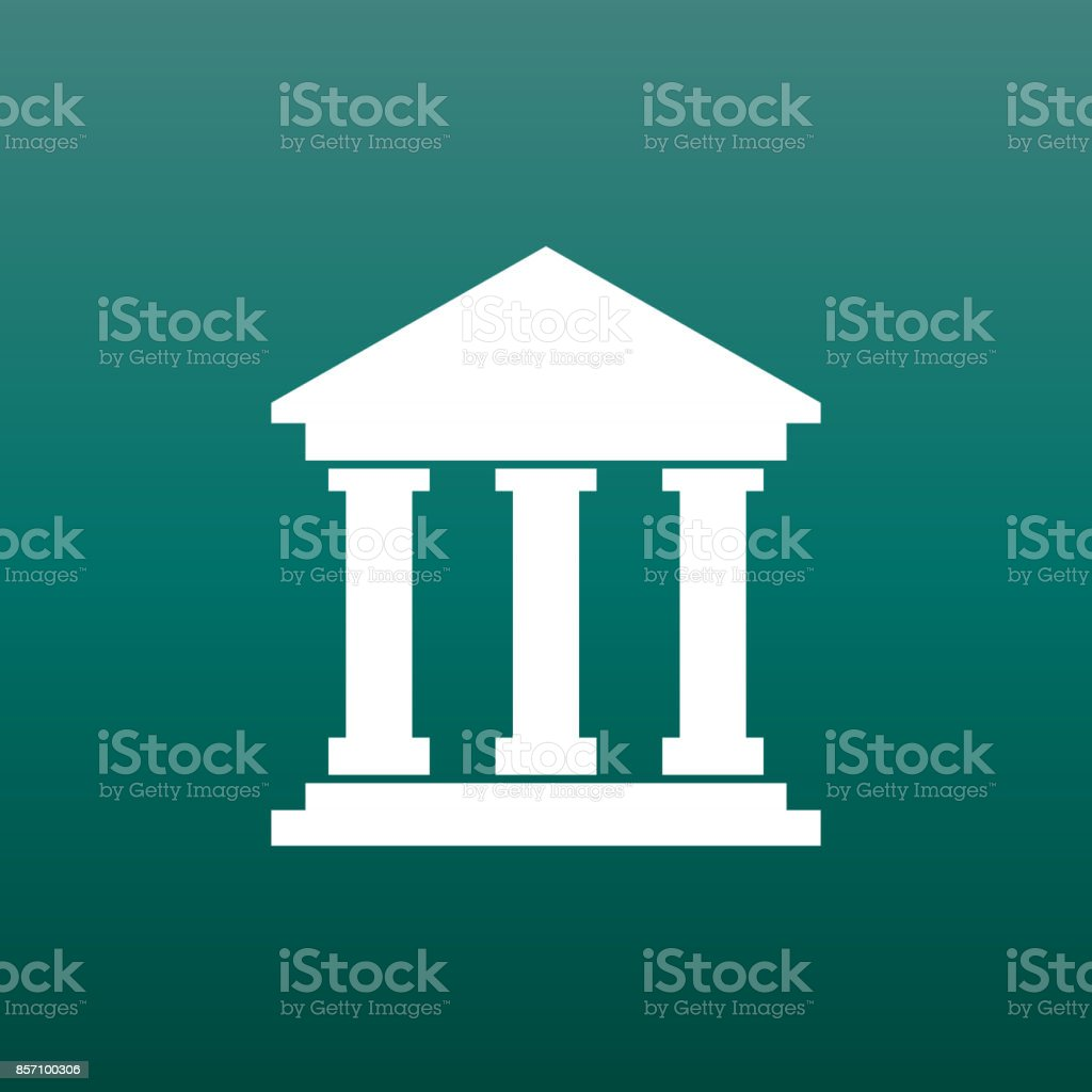Bank building icon in flat style. Museum vector illustration on green background. vector art illustration