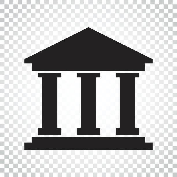 illustrations, cliparts, dessins animés et icônes de icône de style plat de bâtiment de la banque. illustration vectorielle de musée sur fond isolé. pictogramme de concept des affaires simples. - museum