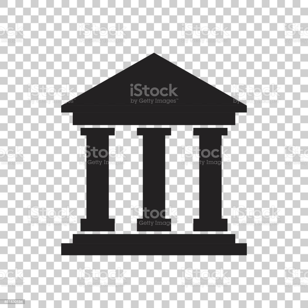 Bank building icon in flat style. Museum vector illustration on isolated background. vector art illustration