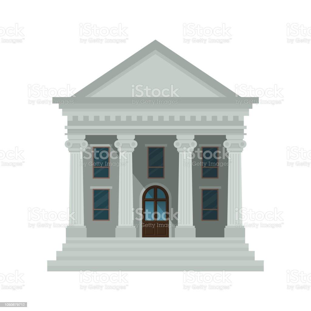 銀行建築圖示隔離在白色背景上。法院、銀行、大學或政府機構的正面觀點。向量例證。扁平的設計風格。epps 10。 - 免版稅人圖庫向量圖形