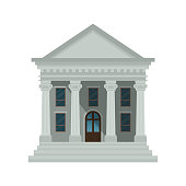 Bank building icon isolated on white background. Front view of court house, bank, university or government institution.