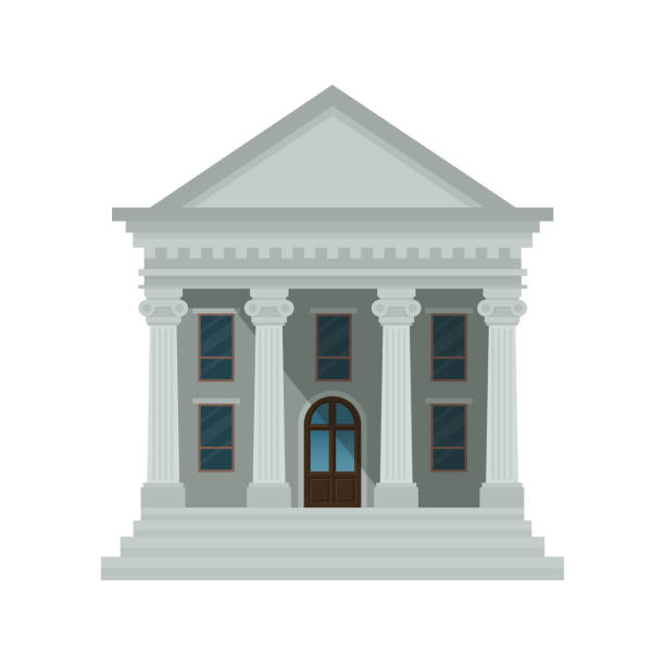 bank building icon isolated on white background. front view of court house, bank, university or government institution. vector illustration. flat design style. eps 10. - bank stock illustrations