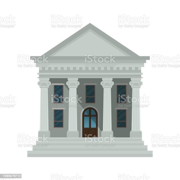 銀行建築圖示隔離在白色背景上法院銀行大學或政府機構的正面觀點向量例證扁平的設計風格epps 10向量圖形及更多人圖片