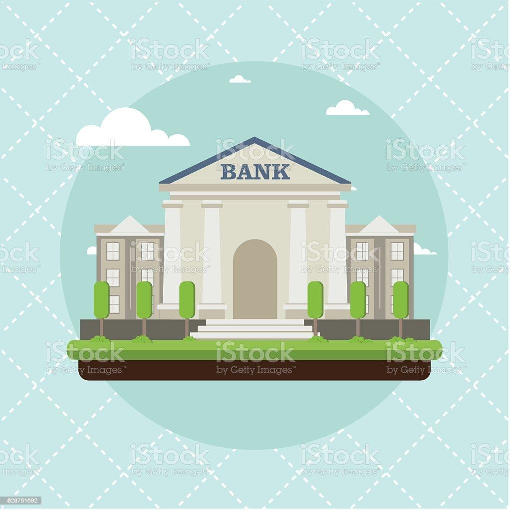 bank building in city flat style vector illustration vector art illustration