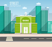 bank building in city space with road on flat background