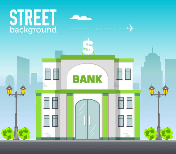 bank building in city space with road on flat style background concept. vector illustration design - bank stock illustrations