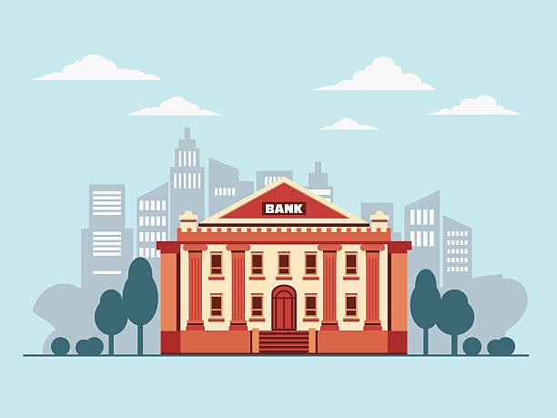 Bank building in city street Bank building in city street economic reform stock illustrations