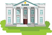 Bank building in flat style