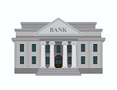 Bank building isolated on white background.