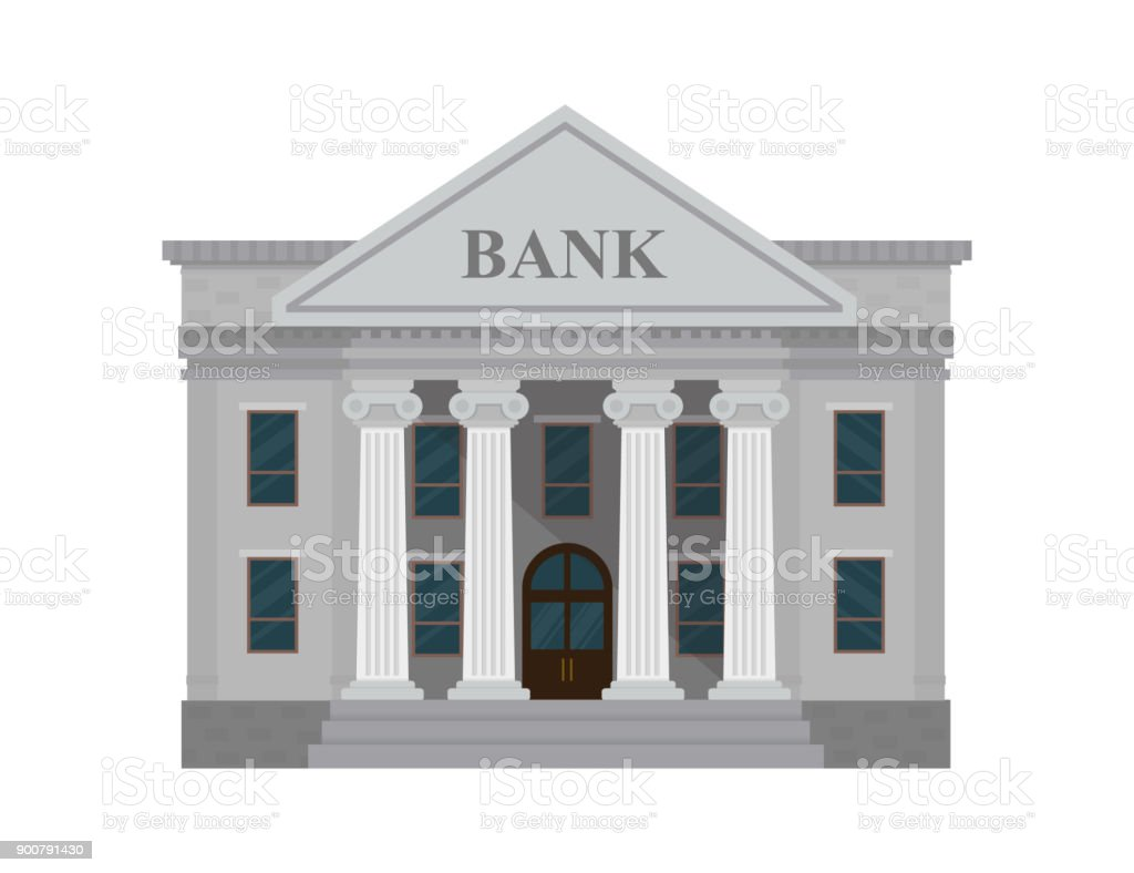 Bank building isolated on white background. Vector illustration. Flat style. - Royalty-free ATM stock vector