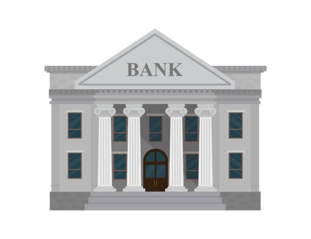 ilustrações, clipart, desenhos animados e ícones de edifício do banco isolado no fundo branco. ilustração em vetor. estilo simples. - banco edifício financeiro