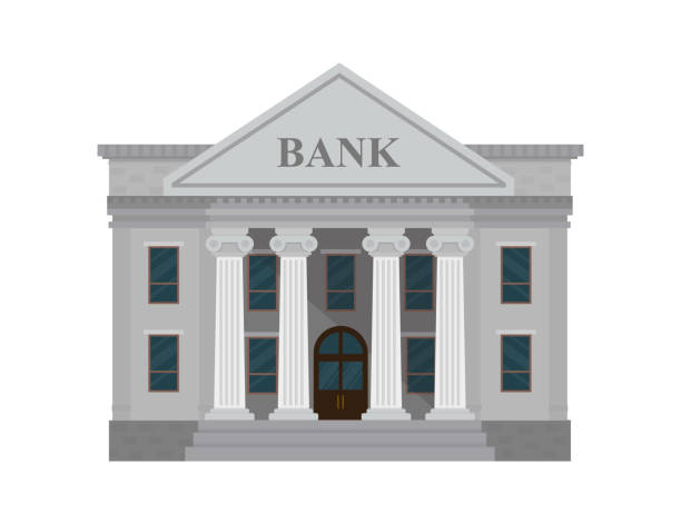 bank building isolated on white background. vector illustration. flat style. - bank stock illustrations
