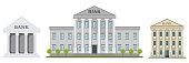 Bank building. Set of facades of a bank building. Vector illustration of a bank, vector.