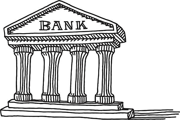 Bank Building Symbol Drawing Hand-drawn vector drawing of a Bank Building Symbol. Black-and-White sketch on a transparent background (.eps-file). Included files are EPS (v10) and Hi-Res JPG. banking drawings stock illustrations