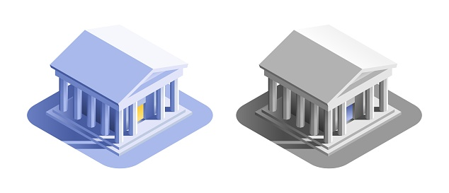 Bank Building. Isometric view at an exterior of a bank or a museum building, represented in different color variations.
