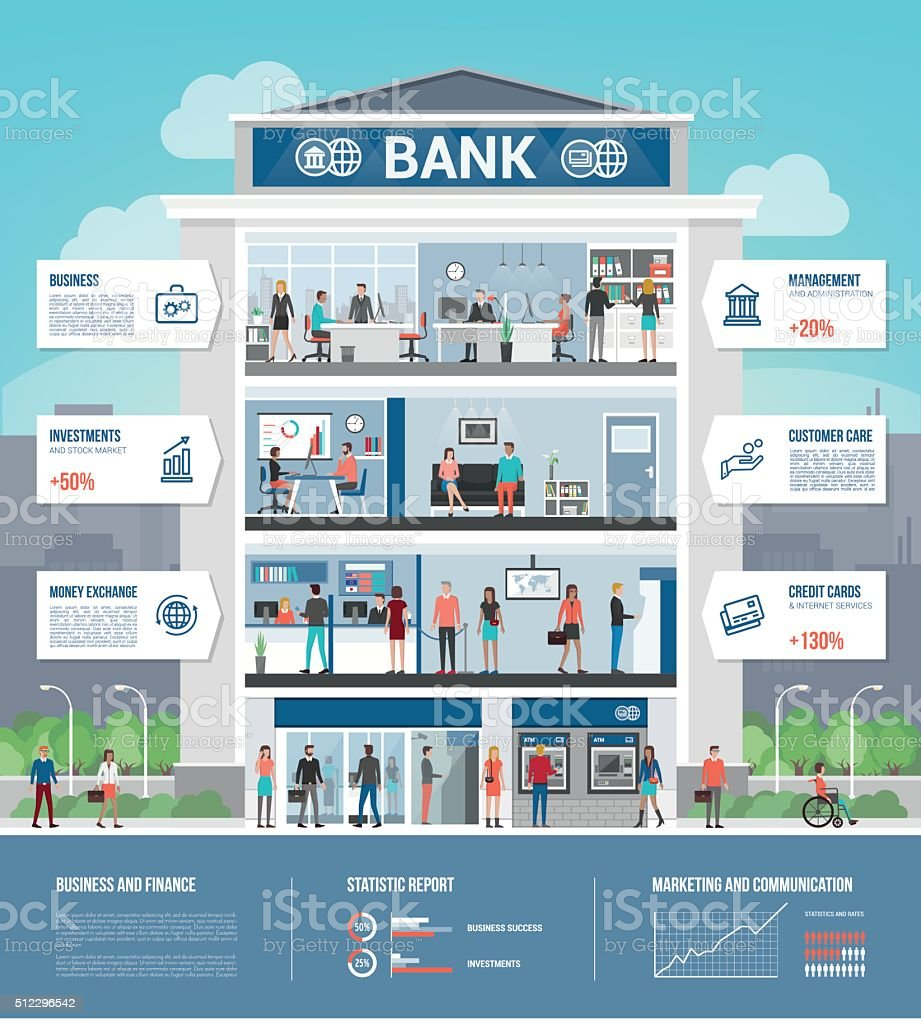 Bank building vector art illustration