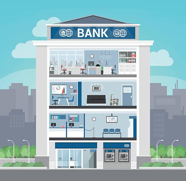 illustrations, cliparts, dessins animés et icônes de bank building - réception en plein air