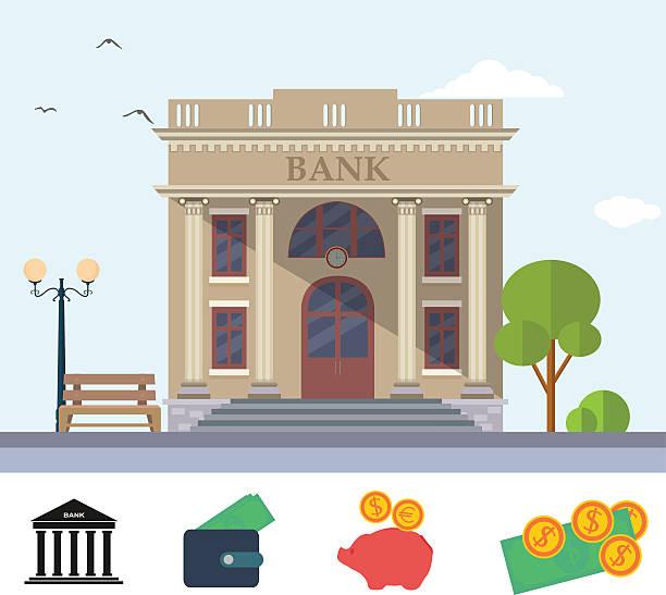 Bank building vector art illustration