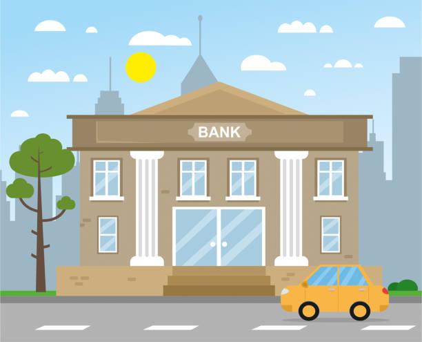 ilustrações, clipart, desenhos animados e ícones de ilustração do vetor do edifício do banco - banco edifício financeiro