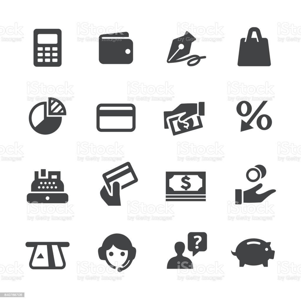 Banco de ícones de cartão - série Acme - ilustração de arte em vetor