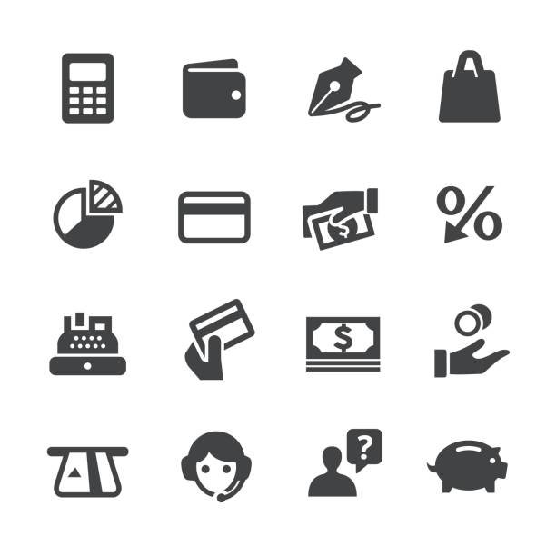 bank card icons - acme-serie - rechenmaschine stock-grafiken, -clipart, -cartoons und -symbole