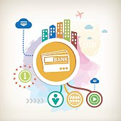 Bank cards and city on abstract colorful watercolor background with different icon and elements.