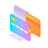 Bank cards and fiscal receipt. Concept of online shopping. Front and back views of card. Cart icon. Isometric style