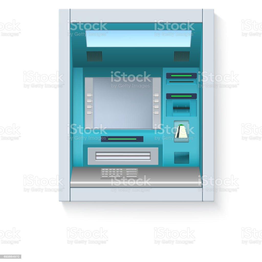 銀行現金自動支払機atm 空白の画面と白の背景の詳細については慎重に ...