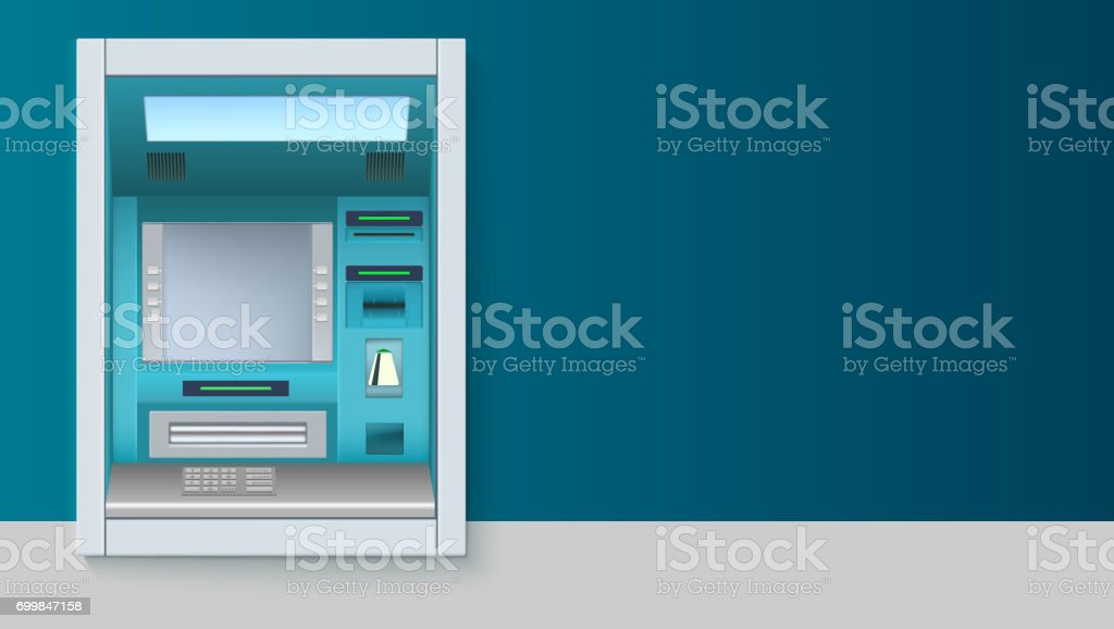 Bank Cash Machine. ATM - Automated teller machine with blank screen and carefully drawn details on white backdrop. Template for flyers, cover, presentation or poster vector art illustration