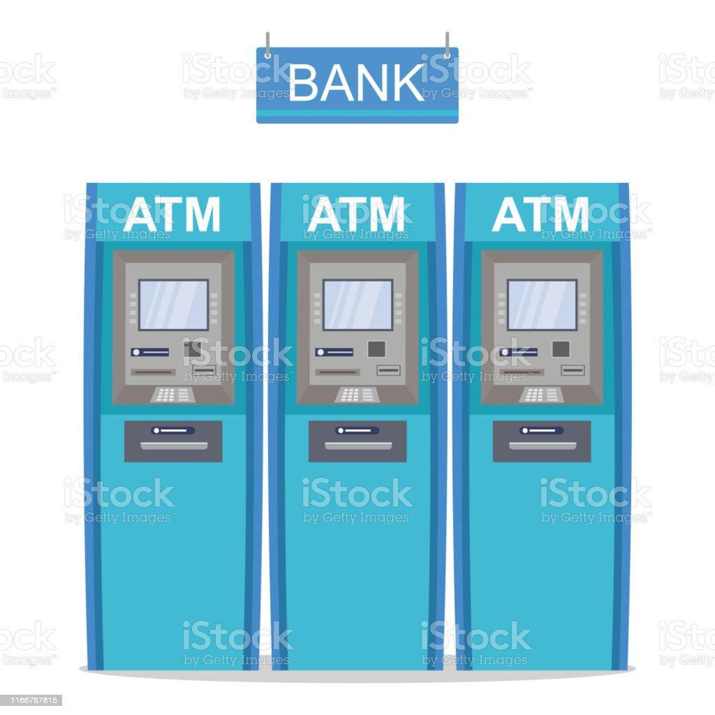 Atm銀行の現金自動預け払い機漫画3つの現金ディスペンサーは白い背景に ...