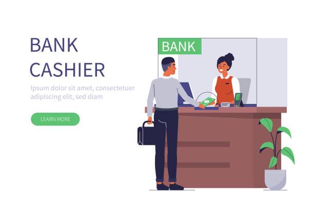 銀行レジ担当者 - 窓口点のイラスト素材/クリップアート素材/マンガ素材/アイコン素材