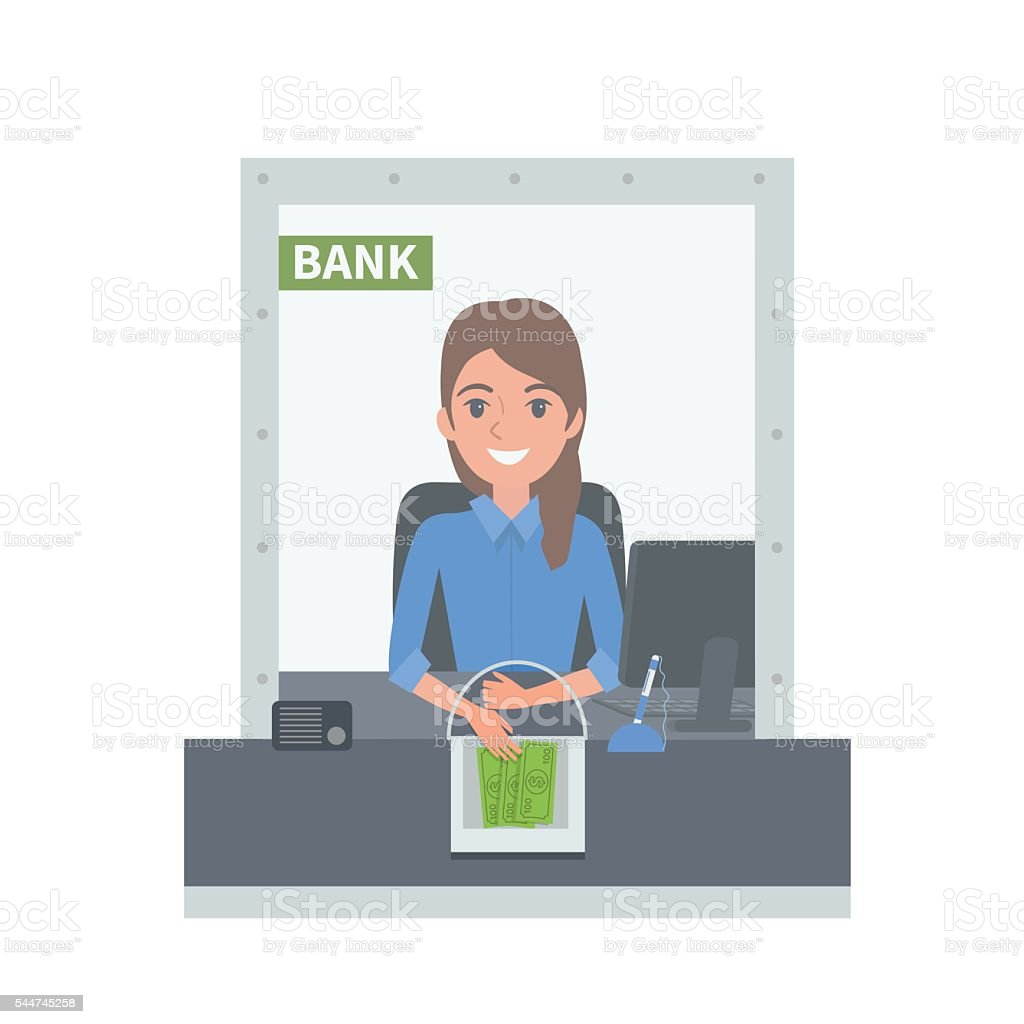 Bank cashier vector art illustration