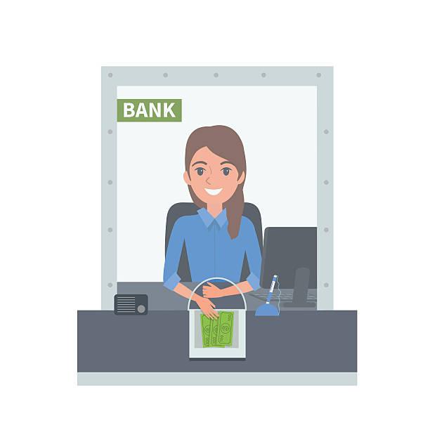 Bank cashier vector art illustration
