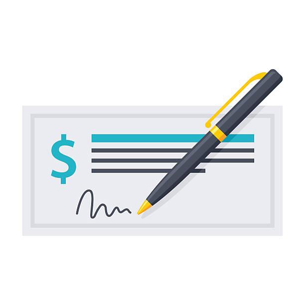 ilustrações, clipart, desenhos animados e ícones de bank check and pen - cheque