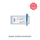 istock Bank Check Flat Icon with Editable Stroke and Pixel Perfect. 1193605346