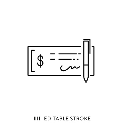 Bank Check Icon with Editable Stroke and Pixel Perfect.