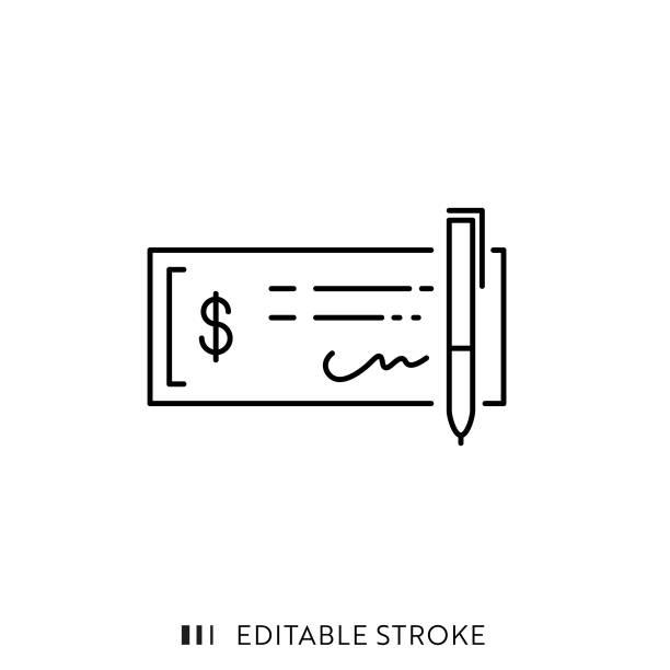 ilustrações, clipart, desenhos animados e ícones de ícone de verificação bancária com curso editável e pixel perfeito. - cheque