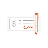 istock Bank Check Icon with Editable Stroke 1285063306