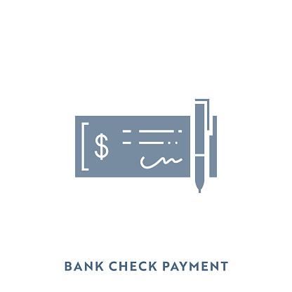 Bank Check Mono Color Business Flat Icon. Pixel Perfect