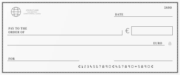 Bank check template. Checkbook page with euro currency background. Bank check template. Checkbook page with euro currency background banking borders stock illustrations