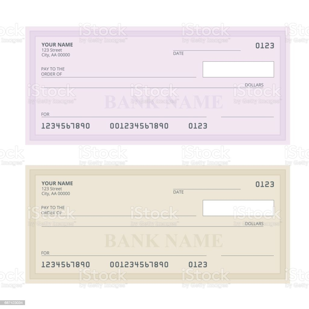 Bank Check with Modern Design. Flat illustration. Cheque book on colored background. Bank check with pen. Concept illustration pay, payment, buy. vector art illustration