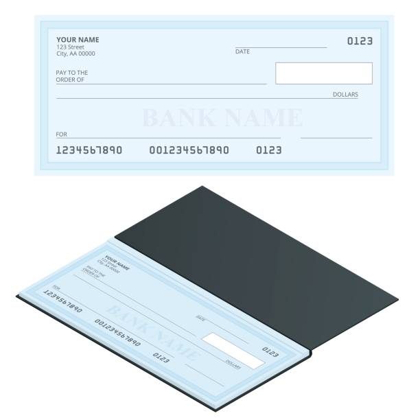 Bank Check with Modern Design. Flat illustration. Cheque book on colored background. Bank check with pen. Concept illustration pay, payment, buy. Bank Check with Modern Design. Flat illustration. Cheque book on colored background. Bank check with pen. Concept illustration pay, payment, buy banking silhouettes stock illustrations