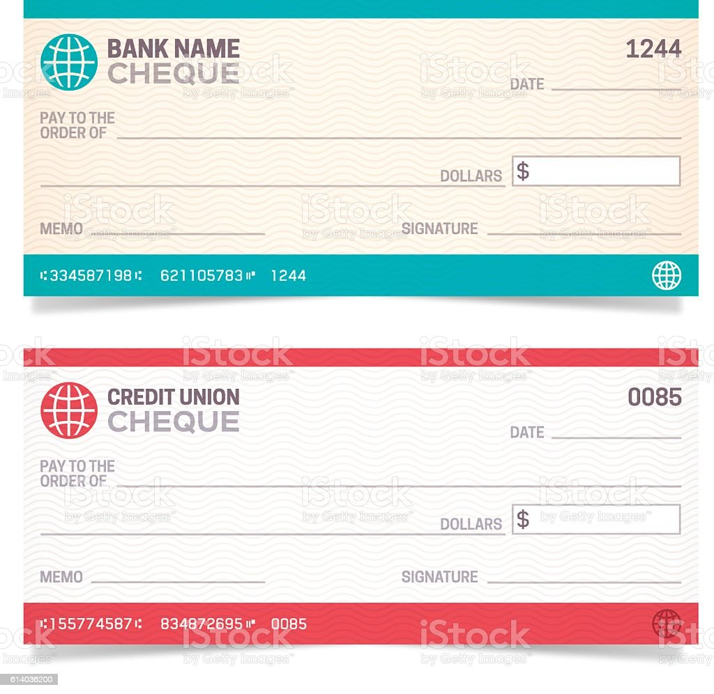 Bank Checks Bank and Credit Union cheques with space for your copy. EPS 10 file. Transparency effects used on highlight elements. Bank - Financial Building stock vector