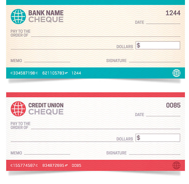 Bank Checks Bank and Credit Union cheques with space for your copy. EPS 10 file. Transparency effects used on highlight elements. check financial item stock illustrations