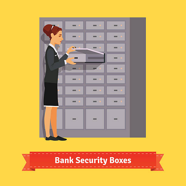 Bank clerk woman opening safe-deposit box Bank clerk woman opening safe-deposit box. Flat style illustration. EPS 10 vector. safety deposit box stock illustrations