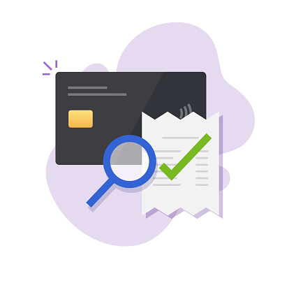 Bank credit card bill payment verification, audit of digital money fraud transaction vector icon, accounting analysis expenses, order pay, budget balance, financial compliance, valid cash transaction