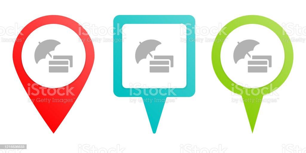 Banque Crédit Carte Icône De Vecteur Dépingle Multicolore Carte De Type Diferent Et Point De Navigation Vecteurs libres de droits et plus d'images