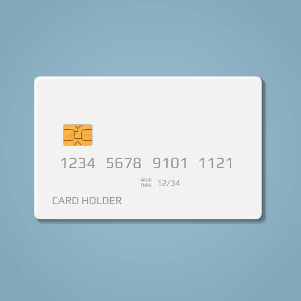 Bank credit debit card A realistic bank credit or debit card with a chip to pay for purchases in the store and the Internet. Blank white card with volumetric numbers and letters, on a blue background. banking silhouettes stock illustrations