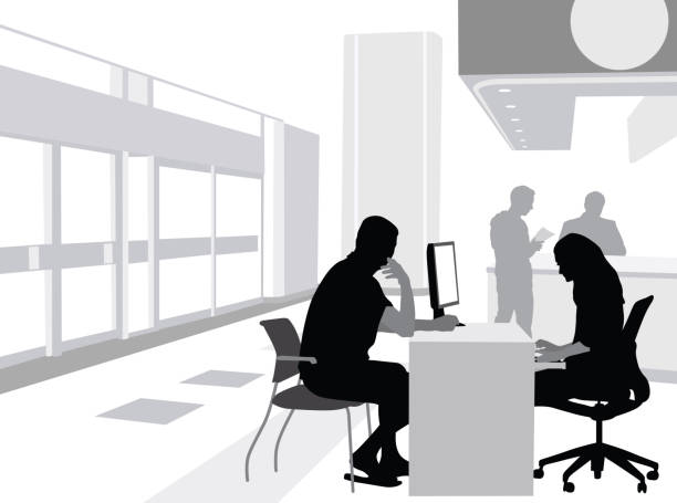 Bank Employee Assistance Banking customer opening a new bank account vector silhouette illustration banking silhouettes stock illustrations