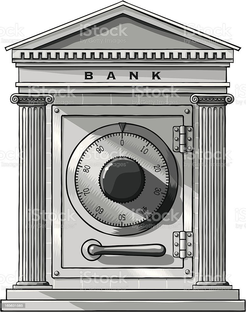 Bank facade with safe door royalty-free bank facade with safe door stock vector art & more images of architectural column